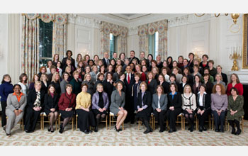 Photo of President Obama psing with mathematics and science teachers honored on Jan. 6, 2010.