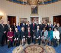 Photo of President Obama posing with mentoring winners in science, math and engineering.