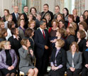 Photo of President Obama with math and science teachers recognized in annual awards program.
