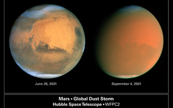 Composite of two Hubble Space Telescope images of a global dust storm on Mars.