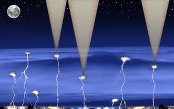 Illustration shows gamma rays emitted from lightning and spreading out into space.
