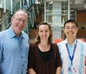 Photo of researchers at the University of Melbourne who are developing flexible electronics.