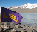 The LSU Flag on the shore of Lake Bonney, Antarctica.