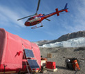 An A-Star helicopter overhead Blood Falls camp shortly after dropping fuel and supplies.