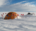 Photo of the researchers' field camp on the Greenland Ice Sheet.