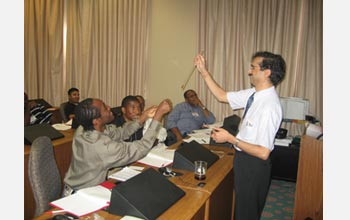 Photo of Himanshu Jain teaching students at Tuskegee University in Alabama.