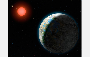 This artist's conception shows the inner four planets of the Gliese 581 system and their host star.