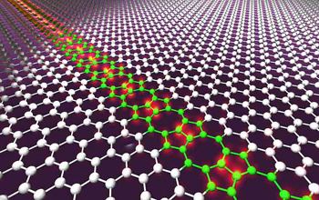 An artist's conception of a row of intentional molecular defects in a sheet of graphene.