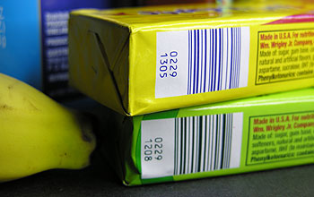 Photo showing barcodes on 2 packages of chewing gum