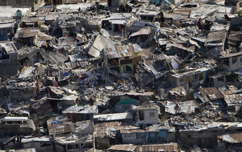 Houses damaged by the earthquake in Haiti.