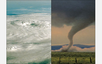 Images of hurricane on the left and a tornado on the right.