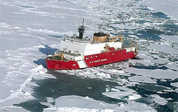 Photo of U.S. Coast Guard icebreaker, the Healy, in Arctic ice.