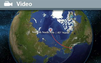 Image of HIPPO V's flight plan to the North Pole, the word Video and a video icon.