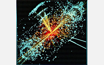 Simulated data showing protons colliding to form a Higgs boson that decays into hadrons, electrons.