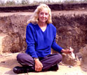 Photo of Sandra Olsen excavating at the Botai site of Vasilkovka in 2002.