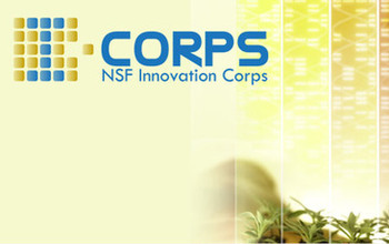 I-Corps logo and image of a scientist woman looking at a plant