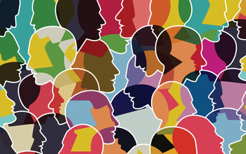 An illustration showing outlines of many human heads in profile against a diverse backdrop of colors and shapes.