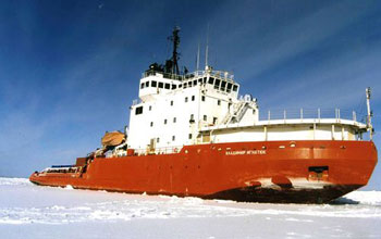 Photo of Russian icebreaker that will create a channel to support two U.S. stations in Antarctica.