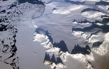 aerial image of glaciers in the Antarctic Peninsula