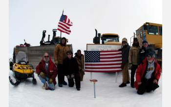 The Antarctic traverse arrived at the South Pole on Dec. 23, 2005.