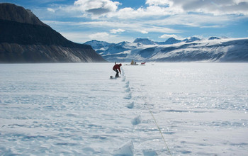 Field glaciologist on the Taylor Glacier