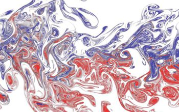 A experimental visualization of two interacting odor plumes, in red and blue