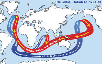 map of the world showing the route of the great ocean conveyor currents