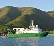 Research vessel Walton Smith moored in St. John�s Great Lameshur Bay in the U.S. Virgin Islands.
