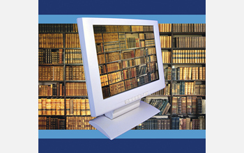 A graphic showing a library of leather-bound books through a computer monitor