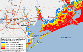 example of the experimental Potential Storm Surge Inundation Map showing the Texas Gulf coast