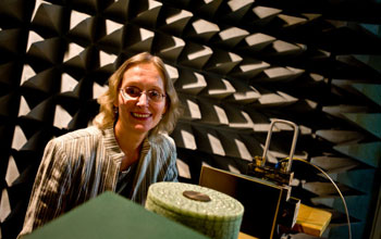 Photo of Elena Semouchkina testing a microwave dielectric cloak in an anechoic chamber.
