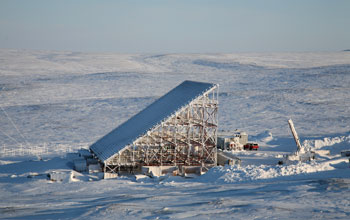 Photo of an NSF-funded ISR radar in Resolute Bay, Nunavut, Canada.