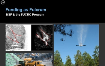 Slide collage and words Funding as Fulcrum--NSF & the I/UCRC Program