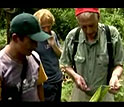 Strobel holds a plant stem as several others look on.