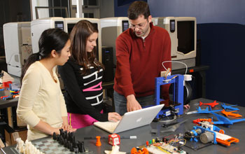 students with 3-D printer