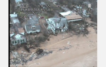 A UAV captured this image of devastation in Pearlington, Miss., following Hurricane Katrina.