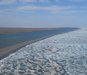 Beaufort Sea lagoons, bounded by ice, in a 2012 photo.
