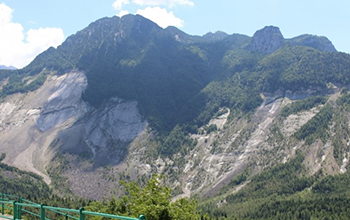 mountainside behind the Vajont Dam in Italy