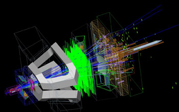 Simulation of a particle collision in the LHCb detector.