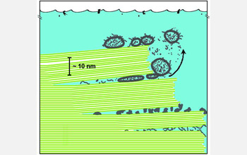 Diagram showing biomolecules (gray structures) between mica sheets (green lines) in primitive ocean.