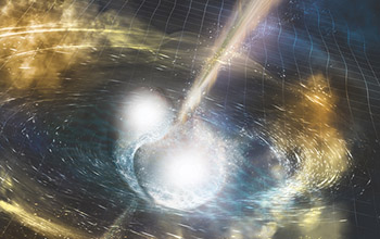 Cataclysmic Collision Credit: LIGO/T. Pyle, Spiral Dance of Black Holes
