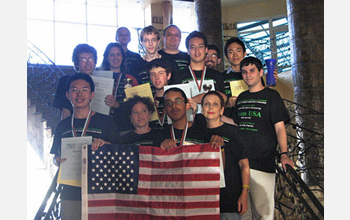 Photo of U.S. team showing their awards at the 2008 International Linguistics Olympiad in Bulgaria.