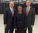 Farnam Jahanian, Cora Marrett and Dan Lipinski with Blue Wtaer super computer system