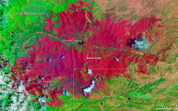 Map showing  burned area in Little Bear Fire in N.M.