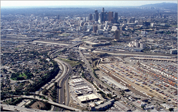 Aerial photo of Rte 10 & 5 interchange, Los Angeles, CA.