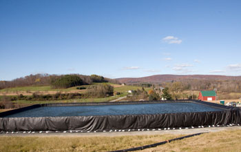 Image of a temporary freshwater impoundment to be used for fracking, or hydraulic fracturing.