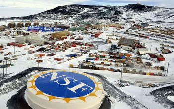 View of McMurdo Station in Antarctica in the snow.