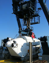 Photo of the submersible Alvin that was used to collect sediment from methane seeps.