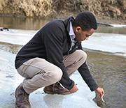 a student tests stream water