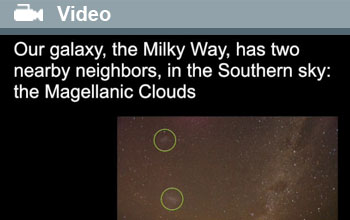 Image showing the Milky Way with Magellanic Clouds circled.
